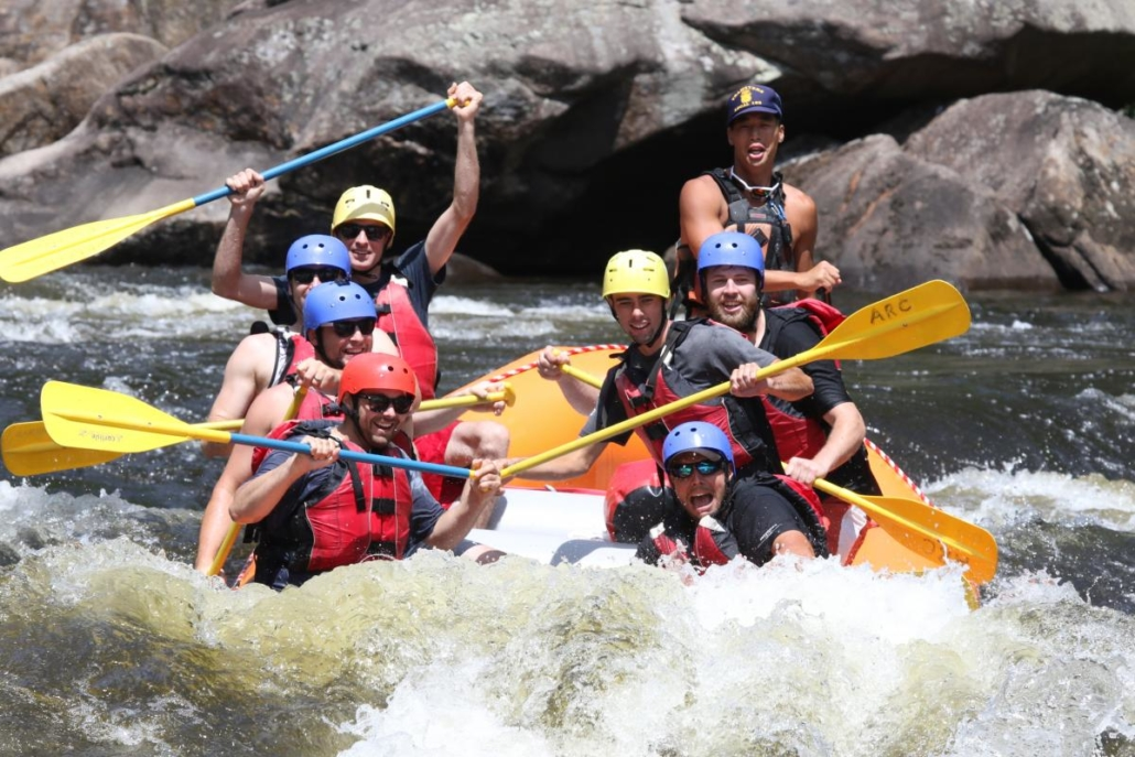 Rafters paddling Hudson River whitewater